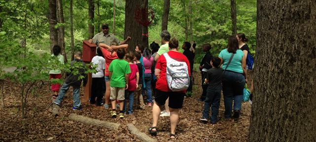 Photo of children in Ranger Led educational program at Mountain Island Educational State Forest